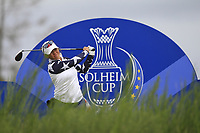 Megan Khang of Team USA on the 8th tee during Day 2 Foursomes at the Solheim Cup 2019, Gleneagles Golf CLub, Auchterarder, Perthshire, Scotland. 14/09/2019.<br /> Picture Thos Caffrey / Golffile.ie<br /> <br /> All photo usage must carry mandatory copyright credit (© Golffile | Thos Caffrey)