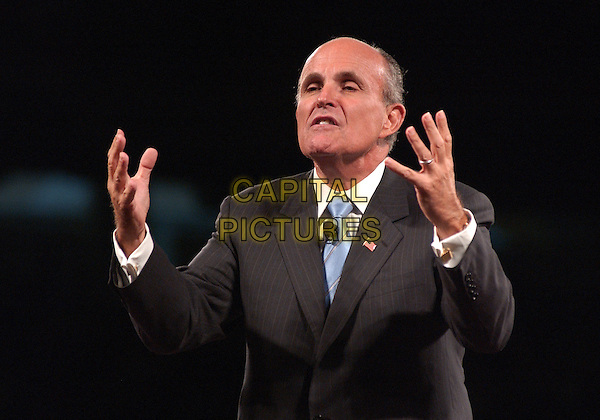 "RUDOLPH GIULIANI.Speaks at the ""GET MOTIVATED"" Seminar at the Mellon Arena, Pittsburgh, PA, USA.  .August 23rd, 2005.Credit: Photo by Jason Nelson/AdMedia .half length hands gesture.www.capitalpictures.com.sales@capitalpictures.com.© Capital Pictures."