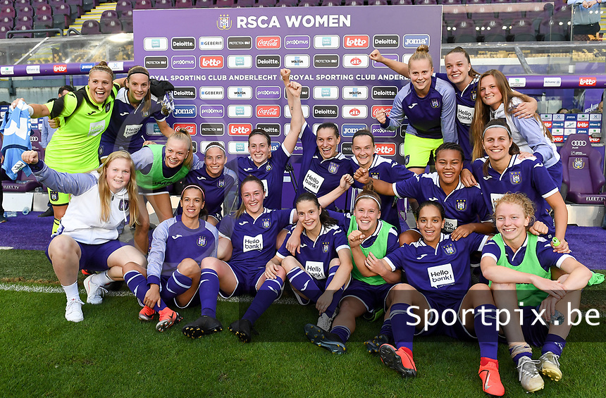 20190807 - ANDERLECHT, BELGIUM : Anderlecht's players pictured celebrating their 5-0 win after the female soccer game between the Belgian RSCA Ladies – Royal Sporting Club Anderlecht Dames  and the Greek FC PAOK Thessaloniki ladies , the first game for both teams in the Uefa Womens Champions League Qualifying round in group 8 , Wednesday 7 th August 2019 at the Lotto Park Stadium in Anderlecht  , Belgium  .  PHOTO SPORTPIX.BE   DAVID CATRY