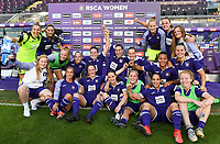 20190807 - ANDERLECHT, BELGIUM : Anderlecht's players pictured celebrating their 5-0 win after the female soccer game between the Belgian RSCA Ladies – Royal Sporting Club Anderlecht Dames  and the Greek FC PAOK Thessaloniki ladies , the first game for both teams in the Uefa Womens Champions League Qualifying round in group 8 , Wednesday 7 th August 2019 at the Lotto Park Stadium in Anderlecht  , Belgium  .  PHOTO SPORTPIX.BE | DAVID CATRY