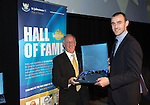 St Johnstone Hall of Fame Dinner, Perth Concert Hall...05.10.13<br /> Henry Hall is presented his Hall of Fame Award by Dave Mackay<br /> Picture by Graeme Hart.<br /> Copyright Perthshire Picture Agency<br /> Tel: 01738 623350  Mobile: 07990 594431