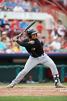 Akron RubberDucks catcher Francisco Mejia (17) at bat during a game against the Erie SeaWolves on August 27, 2017 at UPMC Park in Erie, Pennsylvania.  Akron defeated Erie 6-4.  (Mike Janes/Four Seam Images)