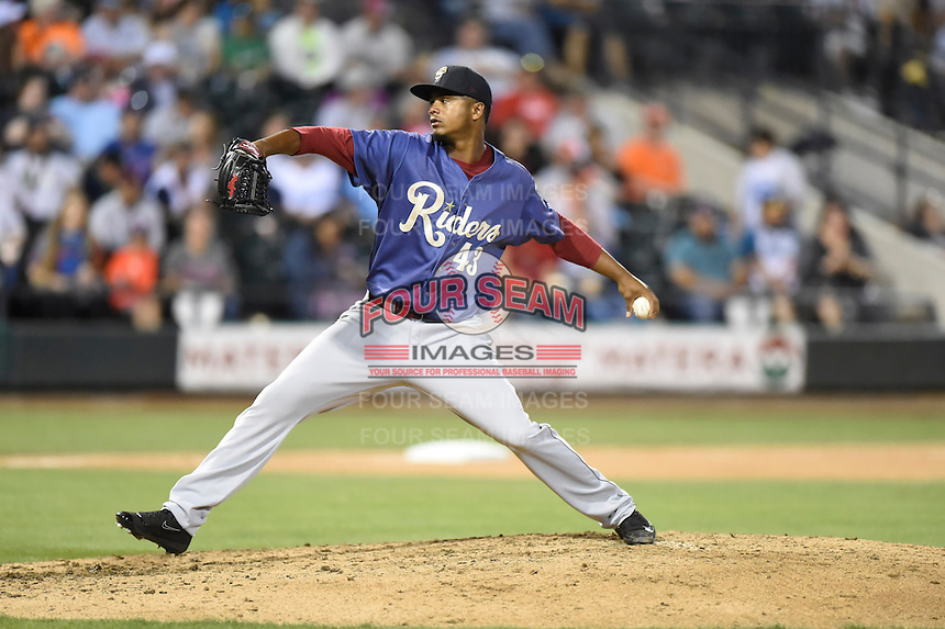 ***Temporary Unedited Reference File***Frisco RoughRiders starting pitcher Victor Payano (43) during a game against the Corpus Christi Hooks on April 23, 2016 at Whataburger Field in Corpus Christi, Texas.  Corpus Christi defeated Frisco 3-2.  (Mike Janes/Four Seam Images)