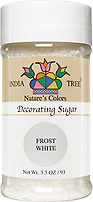 India Tree Nature's Colors natural Frost White Decorating Sugar, India Tree Decorating Sugar, natural sprinkles made with natural food color from plant-based ingredients