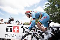 Jurgen Van den Broeck (BEL/Lotto-Soudal) off the start ramp<br /> <br /> Elite Men TT<br /> UCI Road World Championships / Richmond 2015