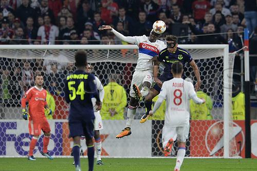 2nd November 2017, Nice, France; EUFA Europa League, Olympique Lyonnais versus Everton;  Mouctar Diakhaby (lyon) beats Dominic Calvert-Lewin (everton) to the header
