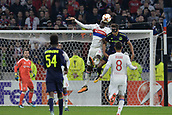 2nd November 2017, Nice, France; EUFA Europa League, Olympique Lyonnais versus Everton;  Mouctar Diakhaby (lyon) beats Dominic Calvert-Lewin (everton) to the header