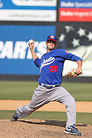 Josh Wall #28 of the Chattanooga Lookouts on the mound during a game against the Carolina Mudcats on May 22, 2011 at Five County Stadium in Zebulon, North Carolina. Photo by Robert Gurganus/Four Seam Images.