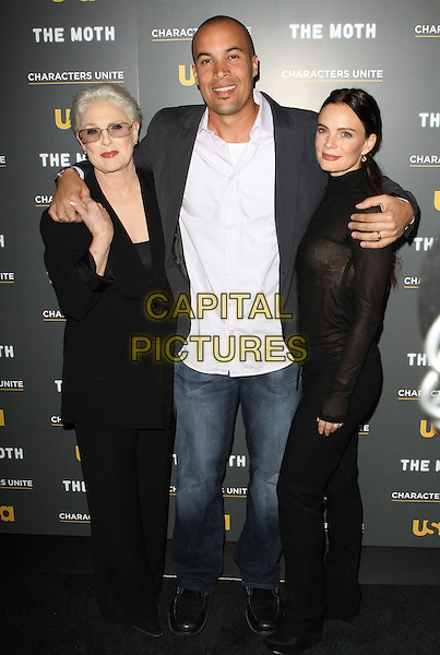 Sharon Gless, Coby Scott Bell, Gabrielle Anwar.USA Network and The Moth's Characters Unite Storytelling Event Held At Pacific Design Center, West Hollywood, California, USA..January 15th, 2012.full length black white shirt jeans denim suit arms over shoulders jeans denim.CAP/ADM/KB.©Kevan Brooks/AdMedia/Capital Pictures.