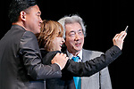 (L to R) Hiroshi Mikitani Chairman and CEO of Rakuten Inc., rock star Yoshiki of X JAPAN and Japan's former Prime Minister Junichiro Koizumi, pose for a selfie during the second day of the New Economy Summit (NEST 2017) on April 7, 2017, Tokyo, Japan. The annual summit brings together global entrepreneurs and innovators for a two-day event in Tokyo. (Photo by Rodrigo Reyes Marin/AFLO)