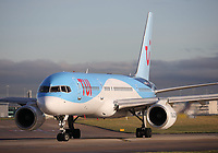 A TUI Boeing 757-2G5 Registration G-OOBP at Manchester Airport on 11.2.19 going to Boa Vista Rabil Airport, Cape Verde.