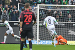 06.10.2019, Borussia-Park - Stadion, Moenchengladbach, GER, DFL, 1. BL, Borussia Moenchengladbach vs. FC Augsburg, DFL regulations prohibit any use of photographs as image sequences and/or quasi-video<br /> <br /> im Bild Alassane Plea (#14, Borussia Moenchengladbach) macht das Tor zum 4:0<br /> <br /> Foto © nordphoto/Mauelshagen