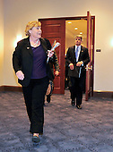United States Representative Zoe Lofgren (Democrat of California), Chairman, U.S. House Committee on Standards of Official Conduct Adjudicatory Subcommittee departs a closed-door meeting to discuss the charges against U.S. Representative Charlie Rangel (Democrat of New York) during an organizational meeting in the Capitol in Washington, D.C. on Thursday, July 29, 2010.  U.S. Representative Michael McCaul (Republican of Texas), Ranking Member, is at right..Credit: Ron Sachs / CNP..(RESTRICTION: NO New York or New Jersey Newspapers or newspapers within a 75 mile radius of New York City)