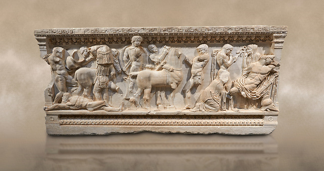 Roman relief sculpted sarcophagus of Achilles from Attica. This side shows scenes from the life of Achilles and bears characteristics of the Late Antonines Period of the Roman Imperial Period between 170-190 AD. Adana Archaeology Museum, Turkey. Against a warm art background