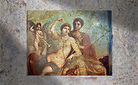 Roman fresco of the divine lovers Venus and Mars, Naples National Archaeological Museum , one of the best paintings excavated from Pompeii, from the house of Venus and Mars (VII 9 47), inv 9248,