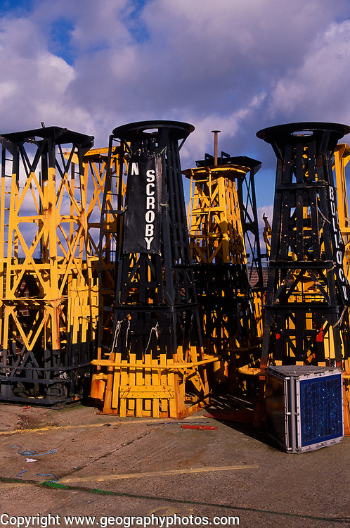 A728GE Bouys and other marine safety equipped in Trinity house store Harwich Essex England