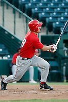 Mike Trout ---  AZL Angels - 2009 Arizona League.Photo by:  Bill Mitchell/Four Seam Images.Anaheim Angels 1st round pick Mike Trout made his professional debut in an Arizona League game against the Rangers at Tempe Diablo Stadium on Sunday, July 5, 2009. Trout hit a triple in his first at bat and finished the game 2 for 2 with 4 walks. The Angels defeated the Rangers, 18-3. In this photo, Trout watches the ball hit towards centerfield for his first professional hit..