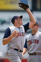 Third baseman Mike Hessman #27 of the Toledo Mudhens catches a pop fly at Harbor Park June 7, 2009 in Norfolk, Virginia. (Photo by Brian Westerholt / Four Seam Images)