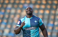 Adebayo Akinfenwa of Wycombe Wanderers celebrates scoring his first goal for the club during the Sky Bet League 2 match between Wycombe Wanderers and Accrington Stanley at Adams Park, High Wycombe, England on 16 August 2016. Photo by Andy Rowland.