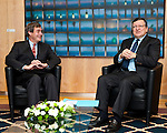 Brussels-Belgium - January 27, 2014 -- José (Jose) Manuel DURAO BARROSO (ri), President of the European Commission, receives Ingo KRAMER (le), President of the Confederation of German Employers' Associations (BDA, Bundesvereinigung der Deutschen Arbeitgeberverbände) -- Photo: © HorstWagner.eu