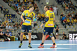 GER - Mannheim, Germany, September 23: During the DKB Handball Bundesliga match between Rhein-Neckar Loewen (yellow) and TVB 1898 Stuttgart (white) on September 23, 2015 at SAP Arena in Mannheim, Germany. Final score 31-20 (19-8) .  Harald Reinkind #27 of Rhein-Neckar Loewen, Kim Ekdahl du Rietz #60 of Rhein-Neckar Loewen<br /> <br /> Foto &copy; PIX-Sportfotos *** Foto ist honorarpflichtig! *** Auf Anfrage in hoeherer Qualitaet/Aufloesung. Belegexemplar erbeten. Veroeffentlichung ausschliesslich fuer journalistisch-publizistische Zwecke. For editorial use only.