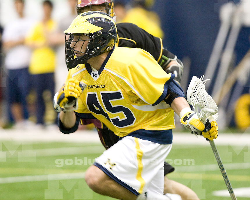 University of Michigan lacrosse (men) 19-1 victory over Central Michigan University at Oosterbaan Fieldhouse on April 3, 2010.