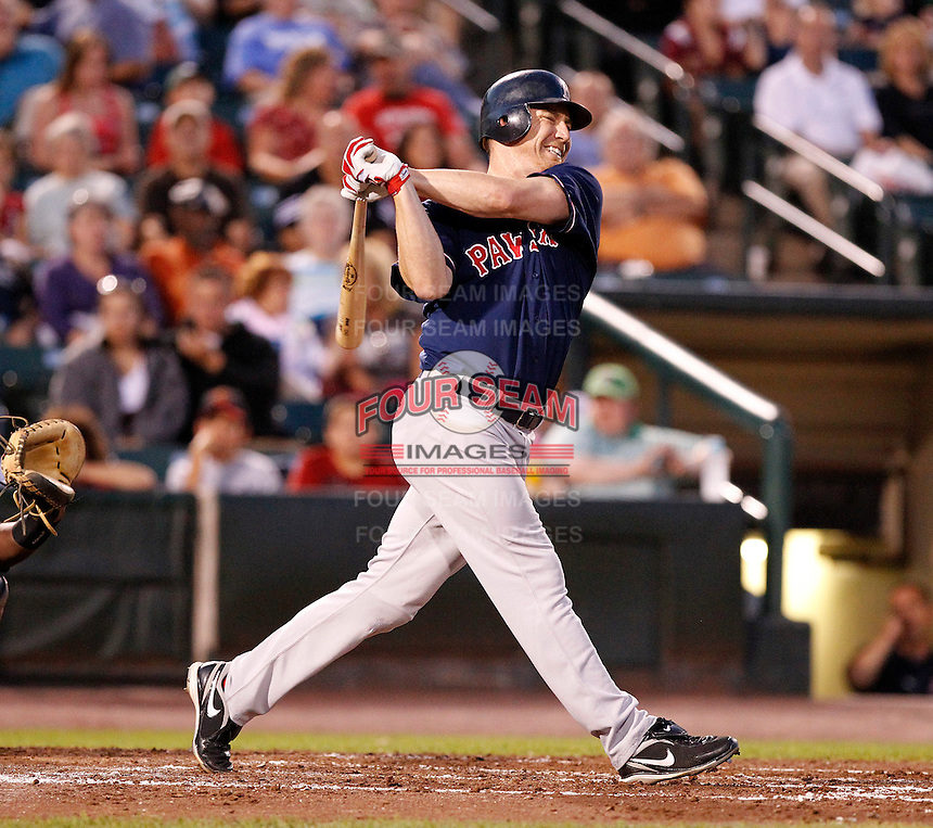 Boston Red Sox outfielder J.D. Drew #23 grimaces hitting a foul ball while playing in a rehab assignment game with the Pawtucket Red Sox against the Rochester Red Wings at Frontier Field on August 30, 2011 in Rochester, New York.  (Mike Janes/Four Seam Images)