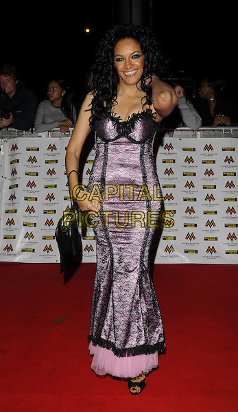 KANYA KING .MOBO Awards at Wembley Arena, London, England. .October 15th, 2008 .MOBOS music of black origin full length black purple lace dress .CAP/CAN.©Can Nguyen/Capital Pictures.