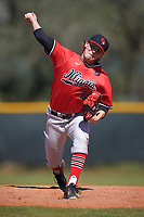Illinois State Redbirds relief pitcher Rhett Rapshus (28) delivers a pitch during a game against the Northwestern Wildcats on March 6, 2016 at North Charlotte Regional Park in Port Charlotte, Florida.  Illinois State defeated Northwestern 10-4.  (Mike Janes/Four Seam Images)