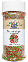 India Tree Nature's Colors natural Jingle Mix Decorating Sugar, India Tree Decorating Sugar, natural sprinkles made with natural food color from plant-based ingredients