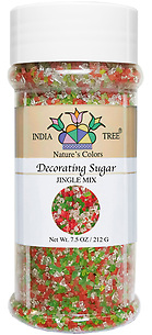 10462 Nature's Colors natural Jingle Mix Decorating Sugar, Tall Jar 7.5 oz, India Tree Storefront