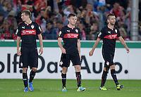 FUSSBALL   DFB POKAL 2. RUNDE   SAISON 2013/2014 SC Freiburg - VfB Stuttgart      25.09.2013 Enttaeuschung VfB Stuttgart: Daniel Schwaab, William Kvist und Vedad Ibisevic (v.li.)