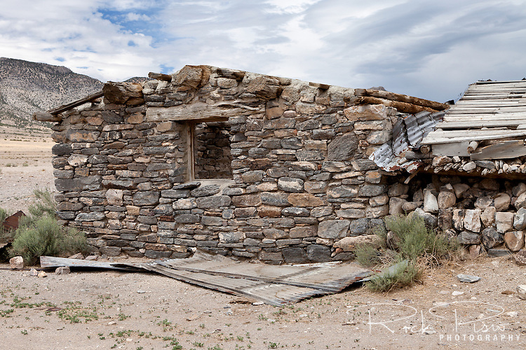 The stone grainhouse at Tippet's Ranch dates back to the 1890's and was constructed without the use of mortar. Tippet's Ranch, which lies along the Lincoln Highway in Eastern Nevada, was in use from the early 1900's and closed in the 1970's.