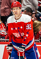 WASHINGTON, DC - JANUARY 31: Evgeny Kuznetsov #92 of the Washington Capitals during a pause in the game during a game between New York Islanders and Washington Capitals at Capital One Arena on January 31, 2020 in Washington, DC.