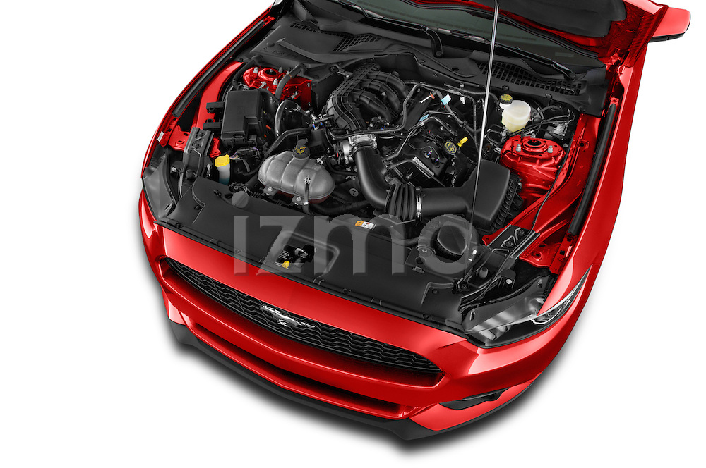 Car Stock 2015 Ford Mustang V6 2 Door Coupe Engine high angle detail view