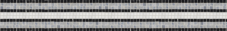 "5 3/4"" Windsor Stripe border, a hand-cut mosaic shown in polished Thassos, Blue Macauba, and Nero Marquina by New Ravenna."