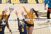 Berkeley, CA - September 9, 2016: Cal falls to West Virginia, 3-1, on the first day of the Cal Classic in Haas Pavilion.