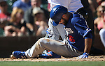 LA Dodgers&rsquo; Andre Ethier fouls a ball off his leg in a spring training game against the Arizona Diamondbacks in Scottsdale, Ariz., on Friday, March 18, 2016. <br />Photo by Cathleen Allison