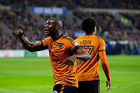 Benif Afobe of Wolves celebrates his side's first goal during the Sky Bet Championship match between Cardiff City and Wolverhampton Wanderers at the Cardiff City Stadium, Cardiff, Wales on 6 April 2018. Photo by Mark  Hawkins / PRiME Media Images.