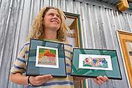 Artist Tanya Handley shows her prints on display at Yukon Artists @ Work in Whitehorse