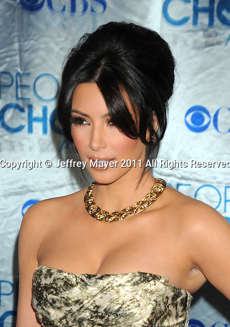 LOS ANGELES, CA. - January 05: Kim Kardashian arrives at the 2011 People's Choice Awards at Nokia Theatre L.A. Live on January 5, 2011 in Los Angeles, California.