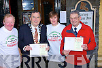 ANNOUNCEMENT: Announcing details of the forth coming 4mile walk on Stephen Day, 2008 at Kirbys Brogue Inn, Tralee on Monday morning in aid of The Pallative Care Unit, Kerry General Hospital/Kerry Hospice Foundation,. Ted Fitzgerald (Mayor of Kerry), Fiona Kirby (Kirby's Brogue Inn), Ted Moynihan (kerry Hospice) and Mike Fox O'Connor (organiser)..   Copyright Kerry's Eye 2008
