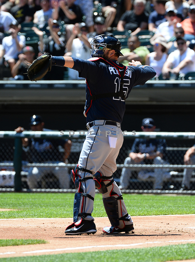 Atlanta Braves AJ Pierzynski (15) during a game against the Chicago White Sox on July 9, 2016 at US Cellular Field in Chicago, IL. The White Sox beat the Braves 5-4.