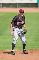 Mitch Piatnik (19) of the Billings Mustangs on defense against the Ogden Raptors in Pioneer League action at Lindquist Field on August 16, 2015 in Ogden, Utah. Billings defeated Ogden 6-3.(Stephen Smith/Four Seam Images)