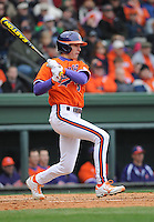 Shortstop Tyler Krieger (3) of the Clemson Tigers in a game against the South Carolina Gamecocks on Saturday, March 2, 2013, at Fluor Field at the West End in Greenville, South Carolina. Clemson won the Reedy River Rivalry game 6-3. (Tom Priddy/Four Seam Images)