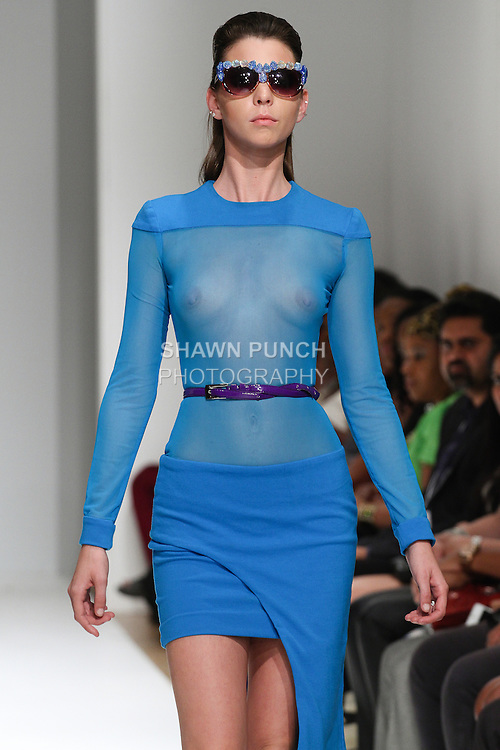 Model walks runway in an outfit from the Delia Alleyne Spring Summer 2015 Save the Buccoo Reef collection, at Fashion Gallery New York Fashion Week Spring Summer 2015, during New York Fashion Week Spring 2015.