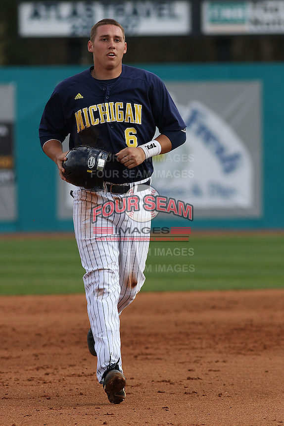 John Lorenz #6 in the field during a game for the University of Michigan Wolverines against the Coastal Carolina University Chanticleers at the Carvelle Resort Classic Tournament held at Watson Stadium at Vrooman Field in Conway, SC on March 13, 2010. Photo by Robert Gurganus/Four Seam Images