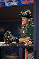 Daytona Tortugas catcher Tyler Stephenson (30) in the dugout during a game against the St. Lucie Mets on August 3, 2018 at First Data Field in Port St. Lucie, Florida.  Daytona defeated St. Lucie 3-2.  (Mike Janes/Four Seam Images)