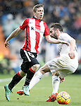 Real Madrid's Daniel Carvajal (r) and Athletic de Bilbao's Iker Muniain during La Liga match. February 13,2016. (ALTERPHOTOS/Acero)