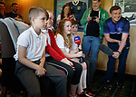 30.05.2018 Local schoolkids asking questions in the boardroom to Ray McKinnon new Morton manager